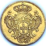 6400 рейсов. 1785. Мария I, Педро III. Бразилия (золото 917, вес 14,34 г), фото №3