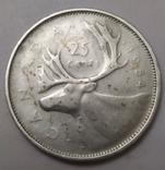 Монета 25 cents Canada-1954рік., фото №2