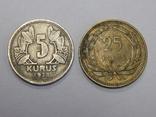 2 монеты Турции 5 и 25 куруш, фото №2