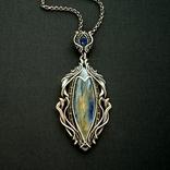 Кулон с кианитами серебро 925, фото №3