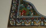 Старинные серебряные углы для иконы.Перегородчатая эмаль., фото №8