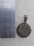 Круглая подвеска из из серебра с черными камнями., фото №4