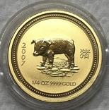 25 долларов 2007 года. Год Свиньи. 1/4 oz, фото №2