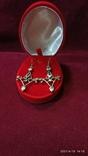 """Старинные серьги """"Кристина"""", серебро 925, голубые топазы, барокко, из Германии, фото №2"""