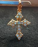 Крест золото 583, Вставки брилиант, фото №2