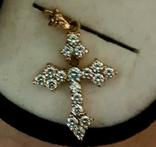 Крест золото 583, Вставки брилиант, фото №6