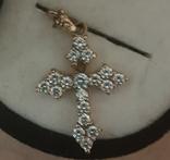 Крест золото 583, Вставки брилиант, фото №7