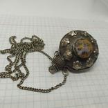 Кулончик-флакон с камнями. Ароматница, нюхательница. Диаметр 35мм,высота 45мм, фото №3