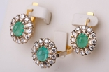 Золотой набор  750 пробы с натуральными бриллиантами и изумрудами, фото №2