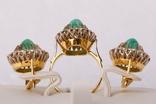 Золотой набор  750 пробы с натуральными бриллиантами и изумрудами, фото №3