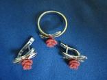 Кольцо и серьги серебро(набор)., фото №3