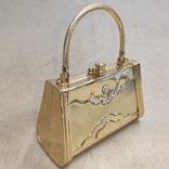 Театральная сумочка в цвете позолоты со стразами. Вся в металле., фото №4