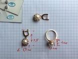 Серьги / кольцо с жемчугом, 585*. 9,55 гр., фото №6