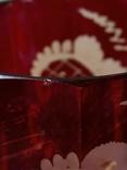 Старинный стеклянный набор. 2 чашки и вазочка., фото №8
