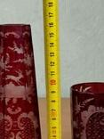 Старинный стеклянный набор. 2 чашки и вазочка., фото №10