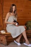 Жіноче парео для лазні з натурального нефарбованого льону, фото №5