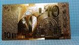 Сувенирная банкнота 10 Euro ( Евро) под золото, фото №3