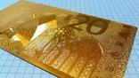 Сувенирная банкнота 20 Euro ( Евро) под золото, фото №6