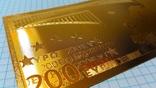 Сувенирная банкнота 200 Euro ( Евро) под золото, фото №5