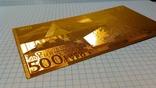 Сувенирная банкнота 500 Euro ( Евро) под золото, фото №4