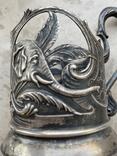 Пара подстаканников Слоны серебро 875 молотобоец СССР винтаж 50-х годов, фото №5