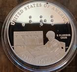 США 1 доллар 2009 г. Луи Брайль. 200 лет со дня рождения. Серебро. Пруф, фото №3