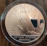 США 1 доллар 1994 г. Мемориал ветеранов Вьетнама. Пруф, фото №2