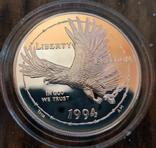 США 1 доллар 1994 г. Национальный музей военнопленных. Орел. Пруф, фото №2