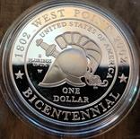 США 1 доллар 2002 г. 200-летие военной академии Вест-Поинта. Пруф, фото №3