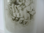 "Ваза старая ""Детки на лавочке"" молочное секло, фото №8"