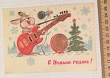 В. Зарубин, открытка чистая: С Новым годом! (заяц, гитара), 1981, фото №2
