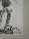 "Закарпатская школа.ХУДОЖНИК Юлий Сташко.""На рынке""1972 год. 21 Х 30,в рамке 35 х 44., фото №4"