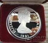 Ямайка 25 долларов 1981 г. Серебро. Вес: 136.00 г. Коробка., фото №5