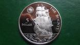 5  долларов 1992 Ниуэ  Парусник Баунти  серебро (2.1.3)~, фото №2