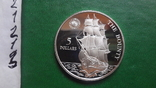 5  долларов 1992 Ниуэ  Парусник Баунти  серебро (2.1.3)~, фото №8