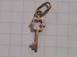 Подвеска ключик (серебро 925, лист каштана), фото №6