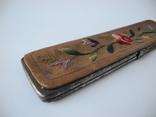 Старинный кожаный аксесуар вышит гладью ( Италия нач ХХ в ) Винтаж, фото №6