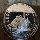Испания 1000 песет 1998 г. серебро. Корабль, фото №2