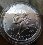 США 1 доллар 1993 г. 250-летие со дня рождения Томаса Джефферсона, Серебро., фото №2