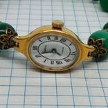 Чайка позолоченная с браслетом из малахита, фото №8