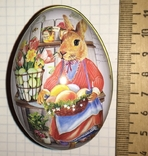 Шкатулка жестяная, пасхальное яйцо, заюшка-хозяюшка, цветы, фото №2