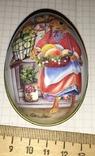 Шкатулка жестяная, пасхальное яйцо, заюшка-хозяюшка, цветы, фото №4