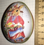 Шкатулка жестяная, пасхальное яйцо, заюшка-хозяюшка, цветы, фото №5