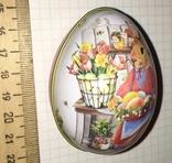 Шкатулка жестяная, пасхальное яйцо, заюшка-хозяюшка, цветы, фото №9