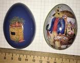 Шкатулка жестяная, пасхальное яйцо, зайцы, морковка / зайці, фото №2