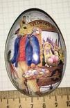 Шкатулка жестяная, пасхальное яйцо, зайцы, морковка / зайці, фото №4