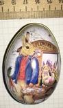 Шкатулка жестяная, пасхальное яйцо, зайцы, морковка / зайці, фото №6
