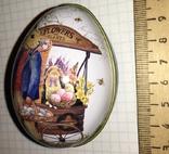 Шкатулка жестяная, пасхальное яйцо, зайцы, морковка / зайці, фото №12