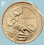 США, 1 доллар 2017 года. Сакагавея. Вождь племени чероки Секвойа, фото №2
