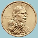 США, 1 доллар 2017 года. Сакагавея. Вождь племени чероки Секвойа, фото №3